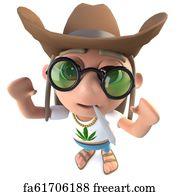 6131cc797ac Ten Gallon Hat Art Print - 3d Funny Cartoon Hippy Stoner Character Wearing  A Ten Gallon