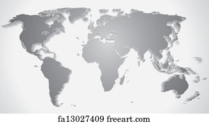 Free Art Print Of 3d World Map Silhouette Vector Graphics Freeart