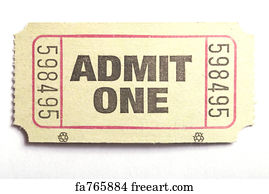 free art print of admin one ticket a roll of admit one tickets on a