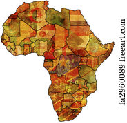 Map Of Africa Art.Free Art Print Of Africa Old Map Some Very Old Grunge Map With