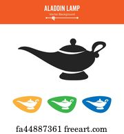 Free Art Print Of Isolated Cartoon Aladin Lamp With Cloud Vector Illustration