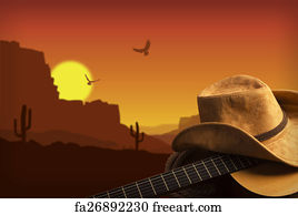 free art print of american cowboy country music background american