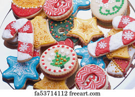 Art Print - Artistically Decorated Christmas Cut Out Sugar Cookies