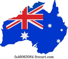 Australia Map With Flag.Free Art Print Of Australian Map Flag