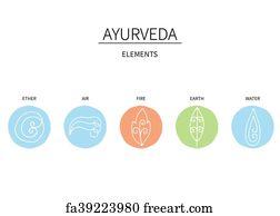 Free art print of Set of ayurvedic doshas icons