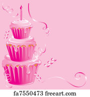 free art print of pink baby girl birthday background pink baby girl