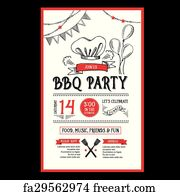 free art print of an invitation to a barbecue party written on
