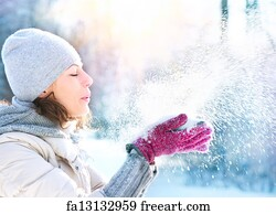 Knitted Wool Hat with Union Jack Flag Isolated On White · Ski Hat Art Print  - Beautiful Winter Woman Blowing Snow Outdoor 640399a57445