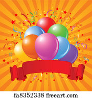 Free Art Print Of Birthday Balloons Design With