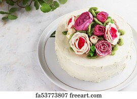 Free Art Print Of Birthday Cake With Flowers Rose On White