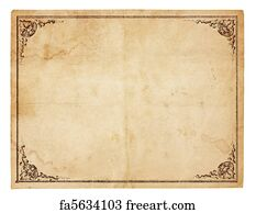 free art print of blank antique paper with vintage border aged