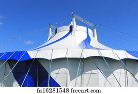Big Top Tent Art Print - Blue And White Big Top Tent & Free Big Top Tent Art Prints and Wall Art | FreeArt