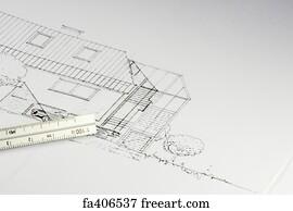 Free blueprint house art prints and wall art freeart blueprint house art print blueprint of a building 02 malvernweather Gallery