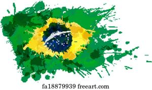 free art print of fist painted in colors of brazil flag low key