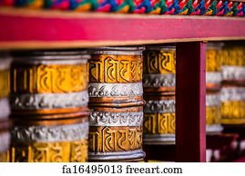 Free art print of Buddhist prayer wheels in Tibetan monastery with written  mantra  India, Himalaya, Ladakh