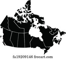Free art print of Canada with Provinces Shades of Shaded Blue