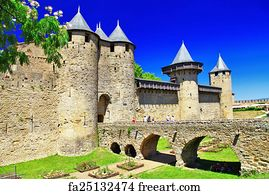 free art print of castles of france carcassonne medieval castles of france carcassonne. Black Bedroom Furniture Sets. Home Design Ideas