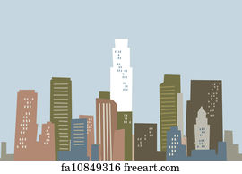 art print cartoon los angeles skyline