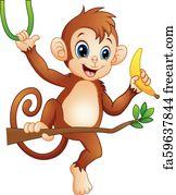Free Art Print Of Baby Monkey On A Tree Holding Blank