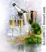bubble border art print champagne new year celebration