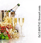 bubble border art print champagne new years eve celebration