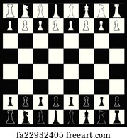 Free art print of White and black knights on chess board
