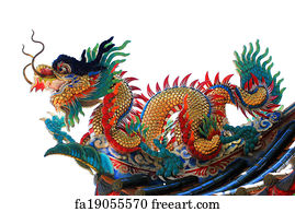 free art print of giant chinese dragon at wat muang giant chinese