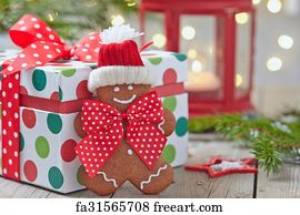 art print christmas decorations with gingerbread man