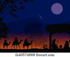 Christmas Nativity.Free Art Print Of Christmas Nativity Scene With Three Wise Men Presenting Gifts To Baby Jesus Mary Joseph