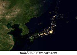 Free art print of west asia china japan corea city lights at art print city lights on world map japan gumiabroncs Choice Image