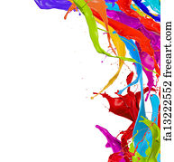 Free Art Print Of Colored Paint Splashes Isolated On White