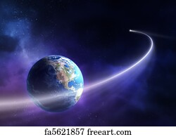 comet moving past planet earth - Moving Picture Frames