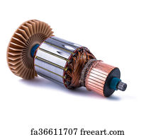 Free art print of Copper Coils inside Electric Motor on a white background