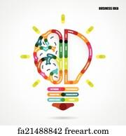 Creative Mind Art Print Creative Light Bulb Concept With Business Idea Background