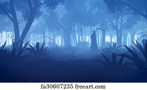 free art print of misty night forest with grim reaper silhouette