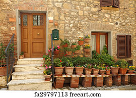 Art Print - Doorway To The Tuscan House With Lots Of Flowerpots Italy & Free art print of Doorsteps decorated with flowerpots to the ...
