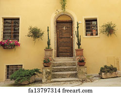 Art Print - Doorway To The Tuscan House & Free art print of Doorsteps decorated with flowerpots to the ...