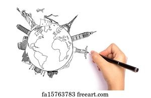 free art print of drawing travel around the world japan france