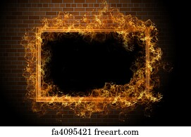 art print empty frame with fire - Empty Picture Frame