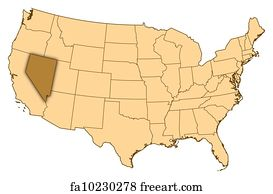 U S Map Art Print Map Of United States Nevada Highlighted