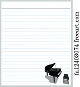 free art print of a piano on grey color lined paper hand drawing