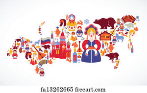 Free Russia Map Art Prints And Wall Art FreeArt - Russia on a map