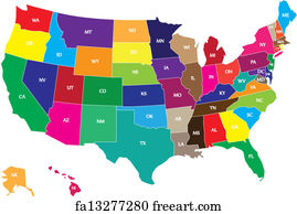 Free Us Map Art Prints And Wall Art FreeArt - Color map of us