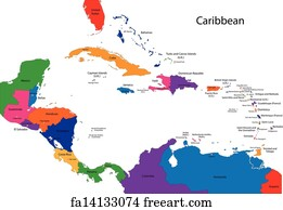 Free Art Print Of Outline Caribbean Map Outline Caribbean Map - Map caribbean