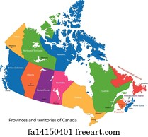 Free art print of Canada with Provinces and Names Canadian map 10