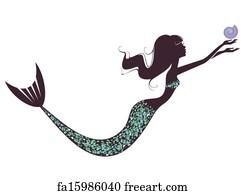 mermaid art print a mermaid silhouette - 1000 Free Prints