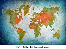 Free art print of vintage map of the world 1814 freeart fa11023968 art print vintage world map with blue background gumiabroncs Image collections