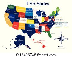 Art Print Usa Map With States And Capital Cities