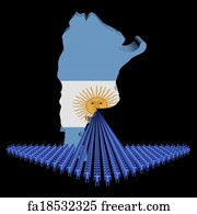 Free Art Print Of Arrow Of People With Argentina Map Flag - Argentina map to print
