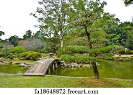 art print stone bridge in japanese garden at isahaya japan